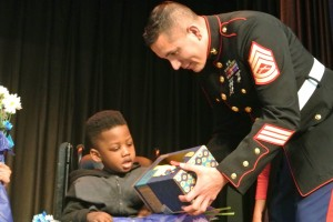 Marines give toys to HVS Students