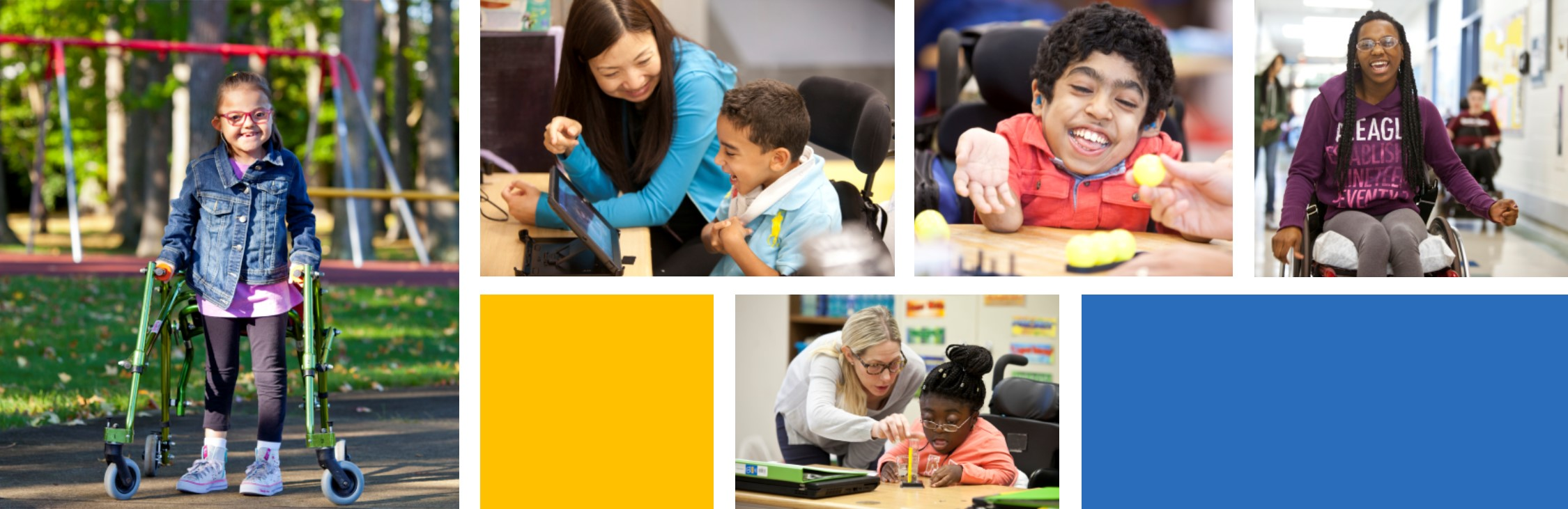Photo collage of students and teachers of the Henry Viscardi School